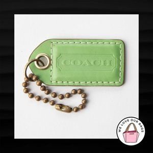 """2.5"""" Large COACH LIME GREEN LEATHER BRASS KEY FOB"""